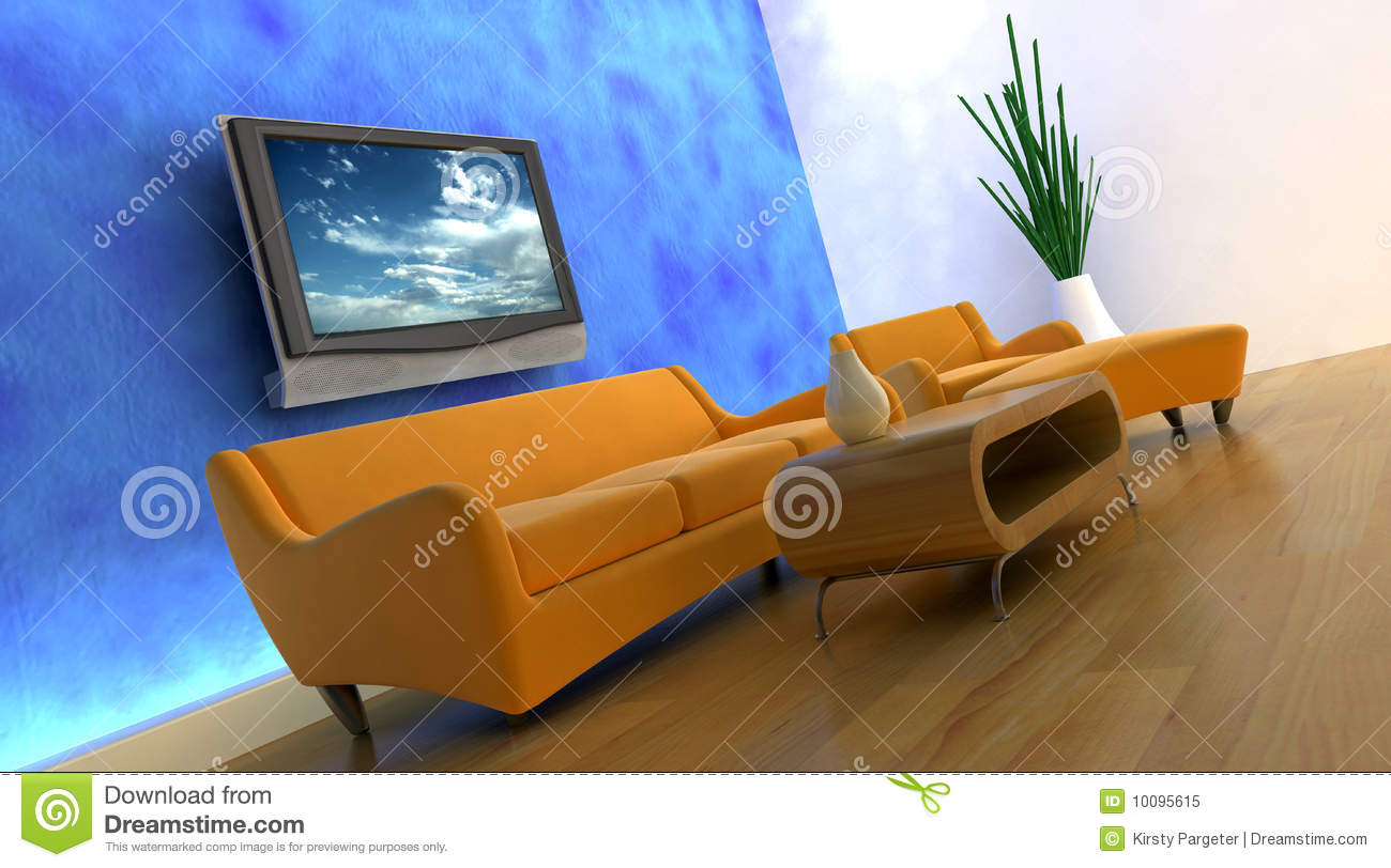 3d Render Of Sofa And Tv Royalty Free Stock Photo - Image ...