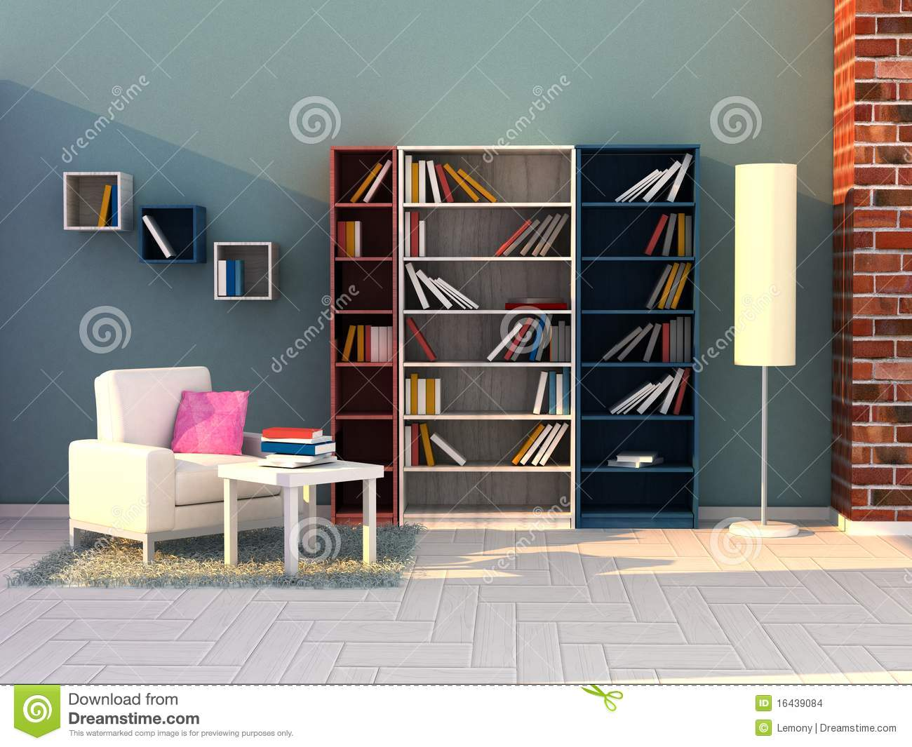 3d Render Study Room Modern Room Stock Photo Image