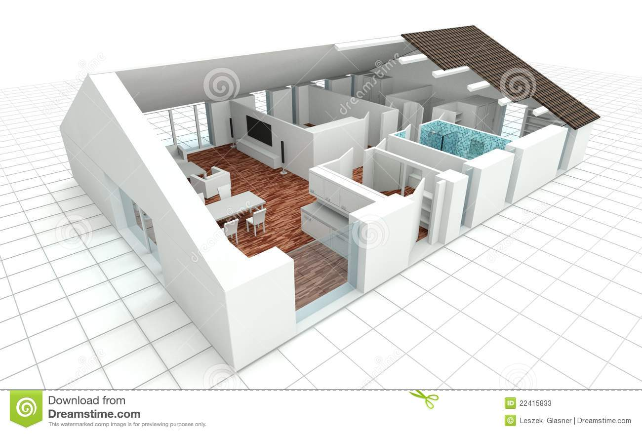 3d rendering house plan stock illustration illustration for Plan de maison interieur gratuit