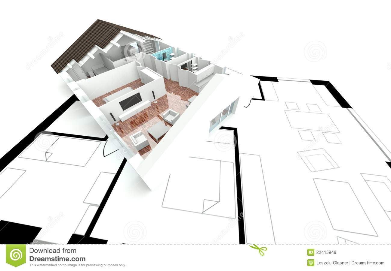 3d Rendering House Plan Royalty Free Stock Images Image