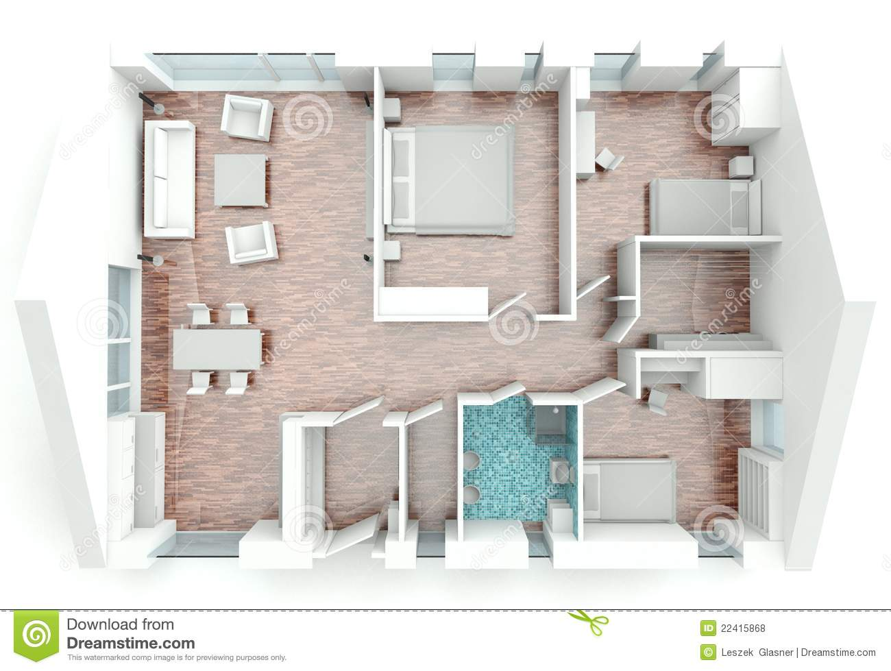 3d Rendering House Plan Stock Illustration Image Of