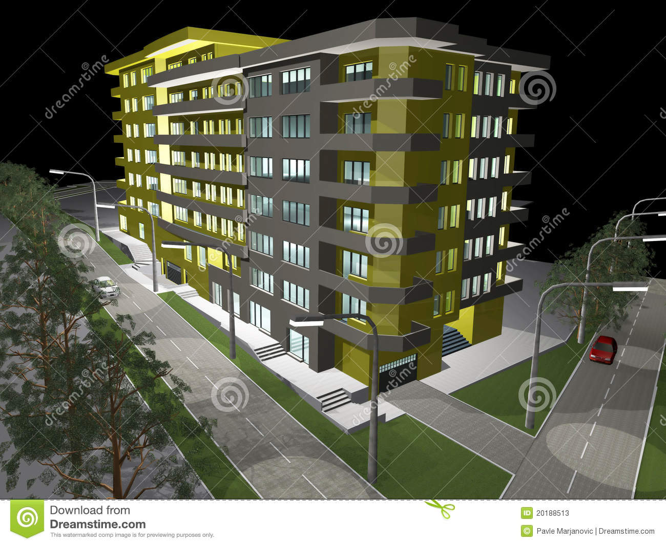 3d rendering of modern residential building stock for Build house online 3d free
