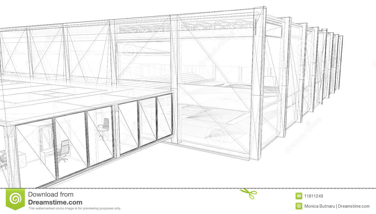 3d rendering wire-frame of building  stock illustration