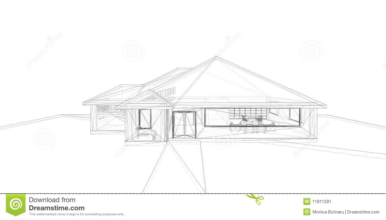 3d rendering wire-frame of house  stock image