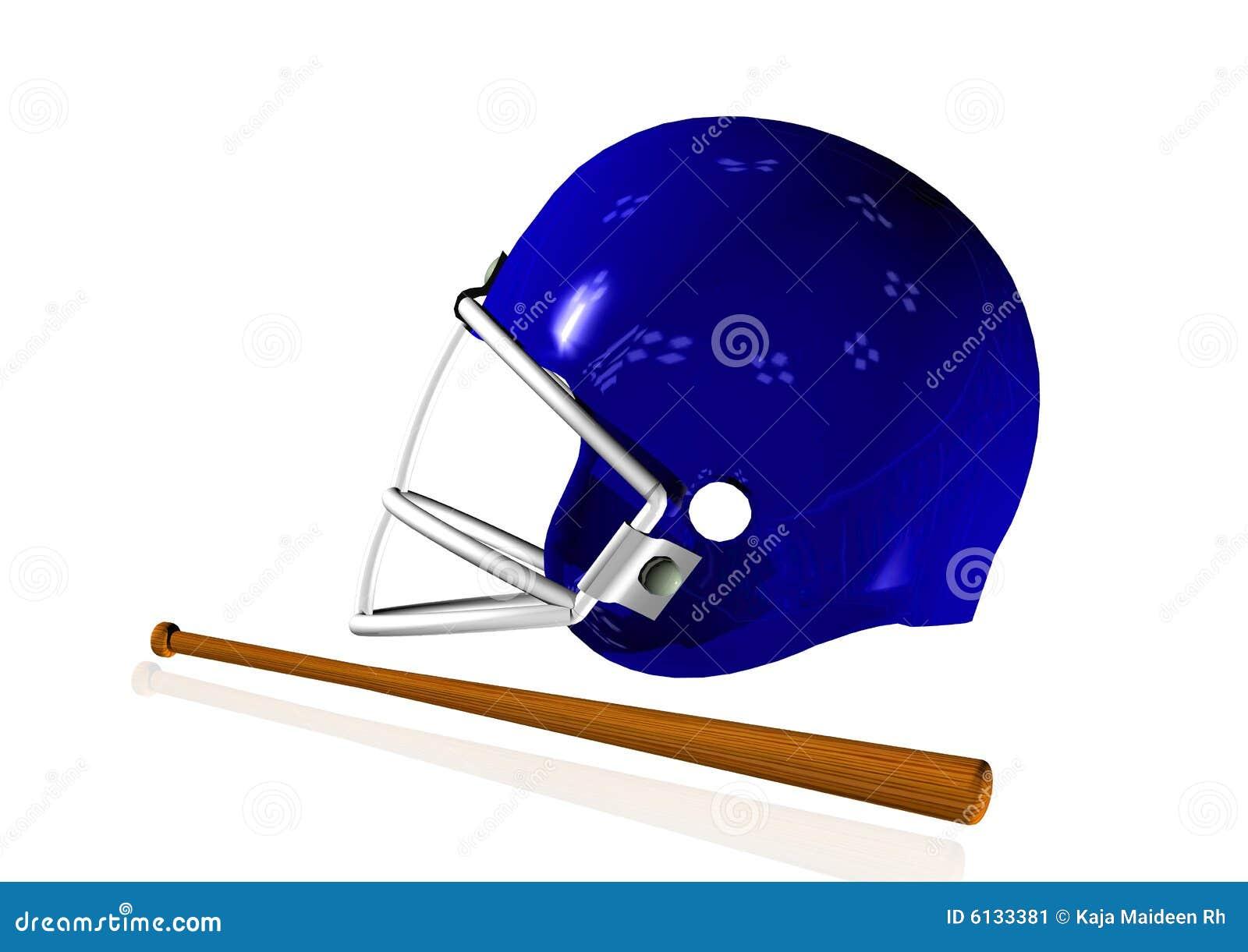 3D rinden el casco con el bate de béisbol