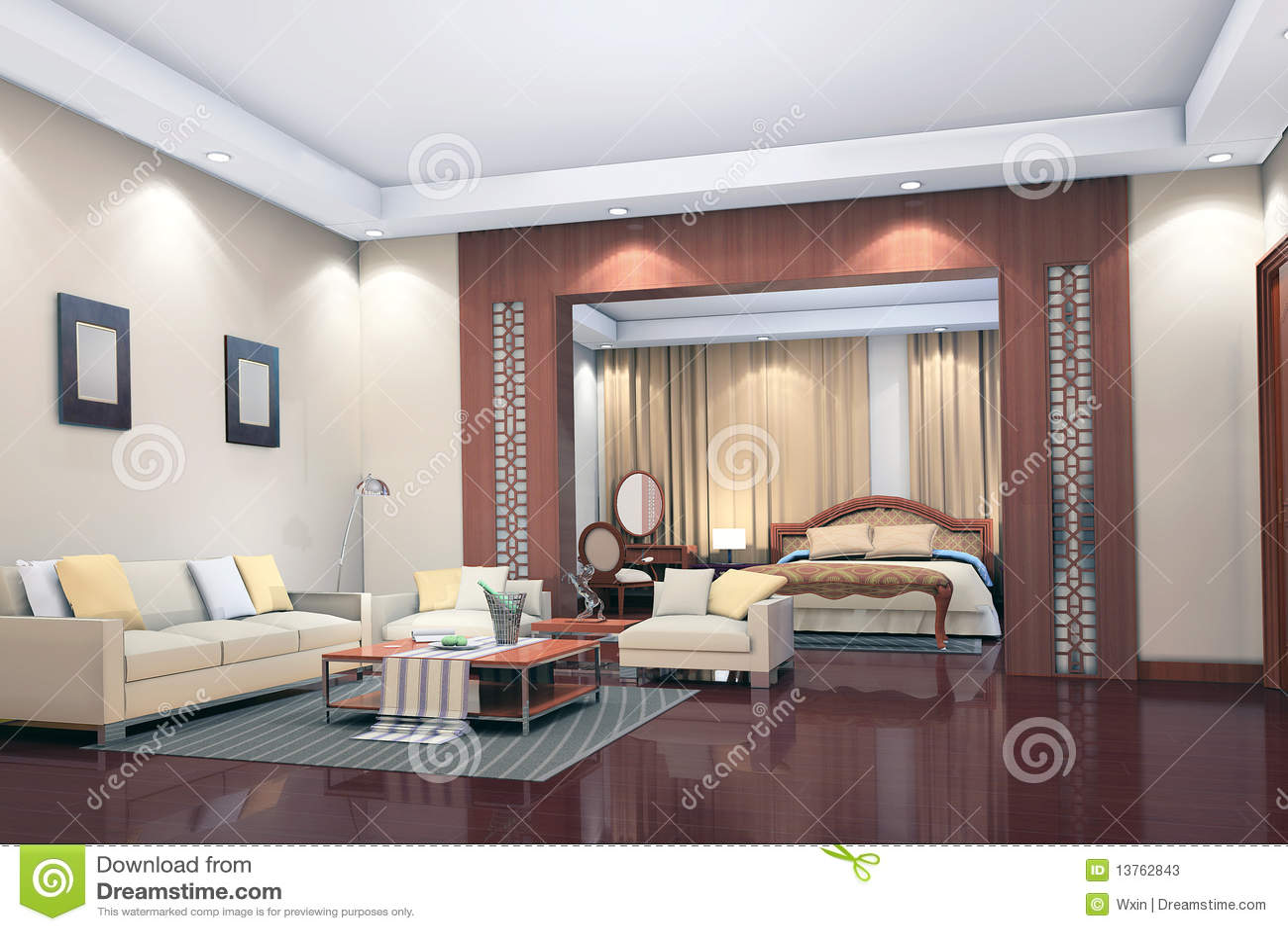3d rinden el interior moderno de la sala de estar for Dormitorio sala
