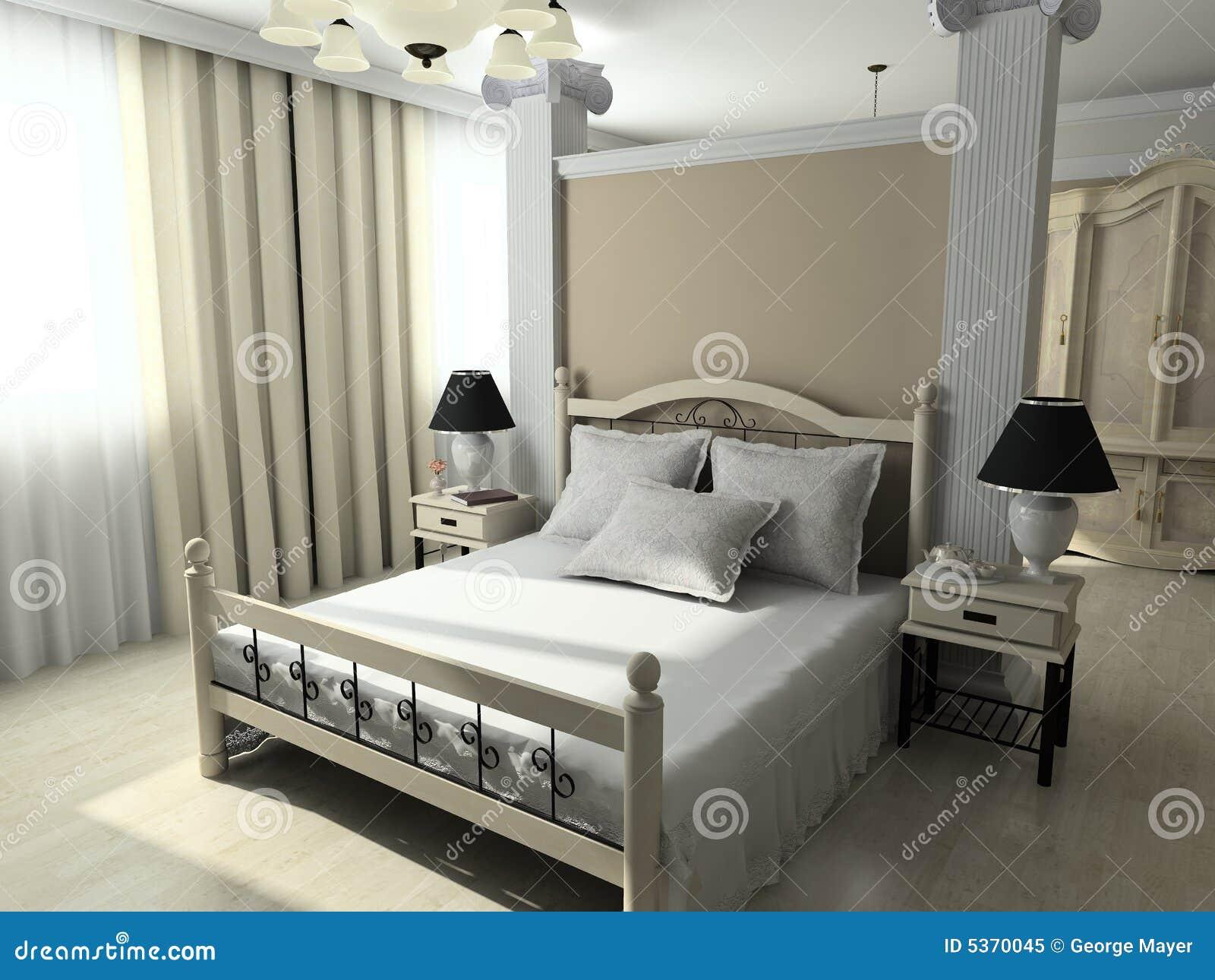 3D rinden el interior moderno del dormitorio