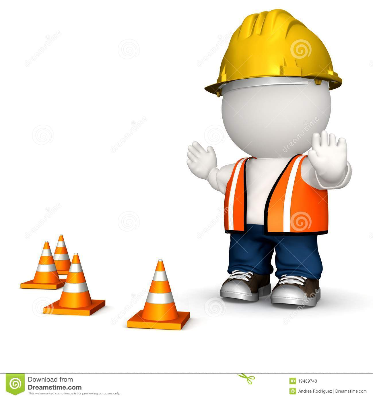 3D road worker - isolated over a white background.