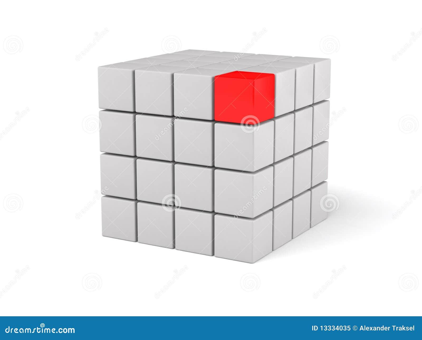 3d rode leider, op witte achtergrond