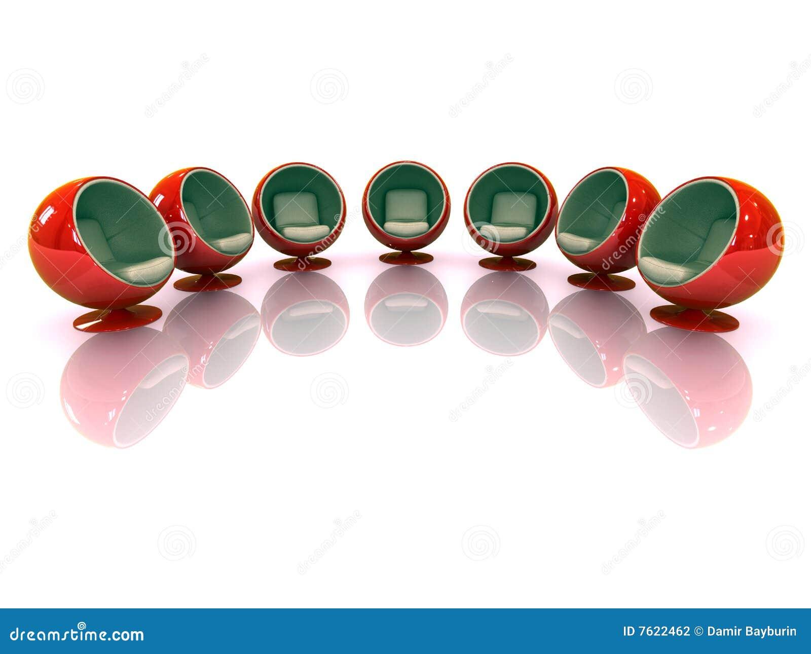 Moderne stoelen : D rode moderne weerspiegelde stoelen stock fotografie