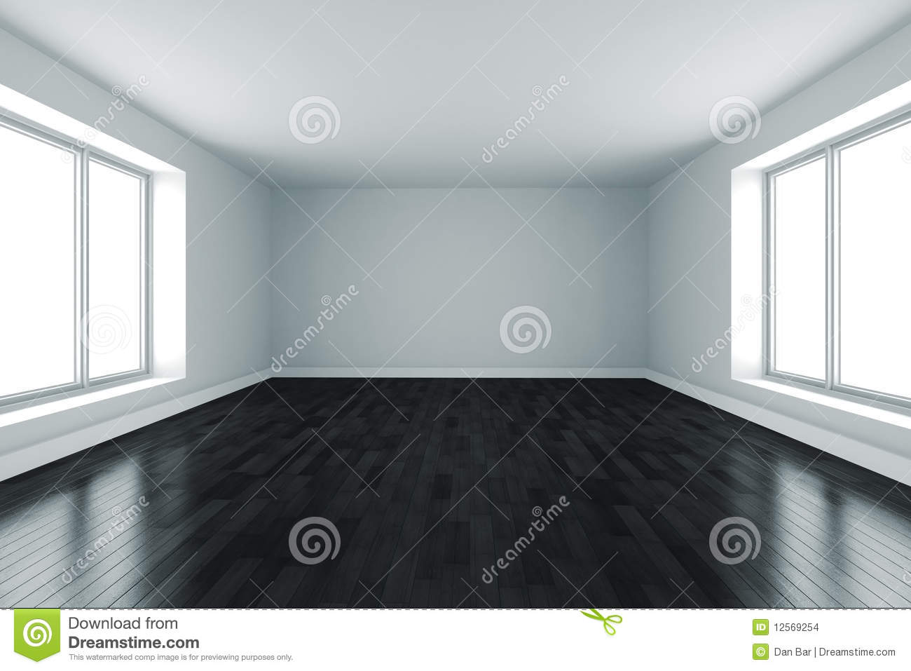 3d Room With White Walls And Black Floor Stock Images