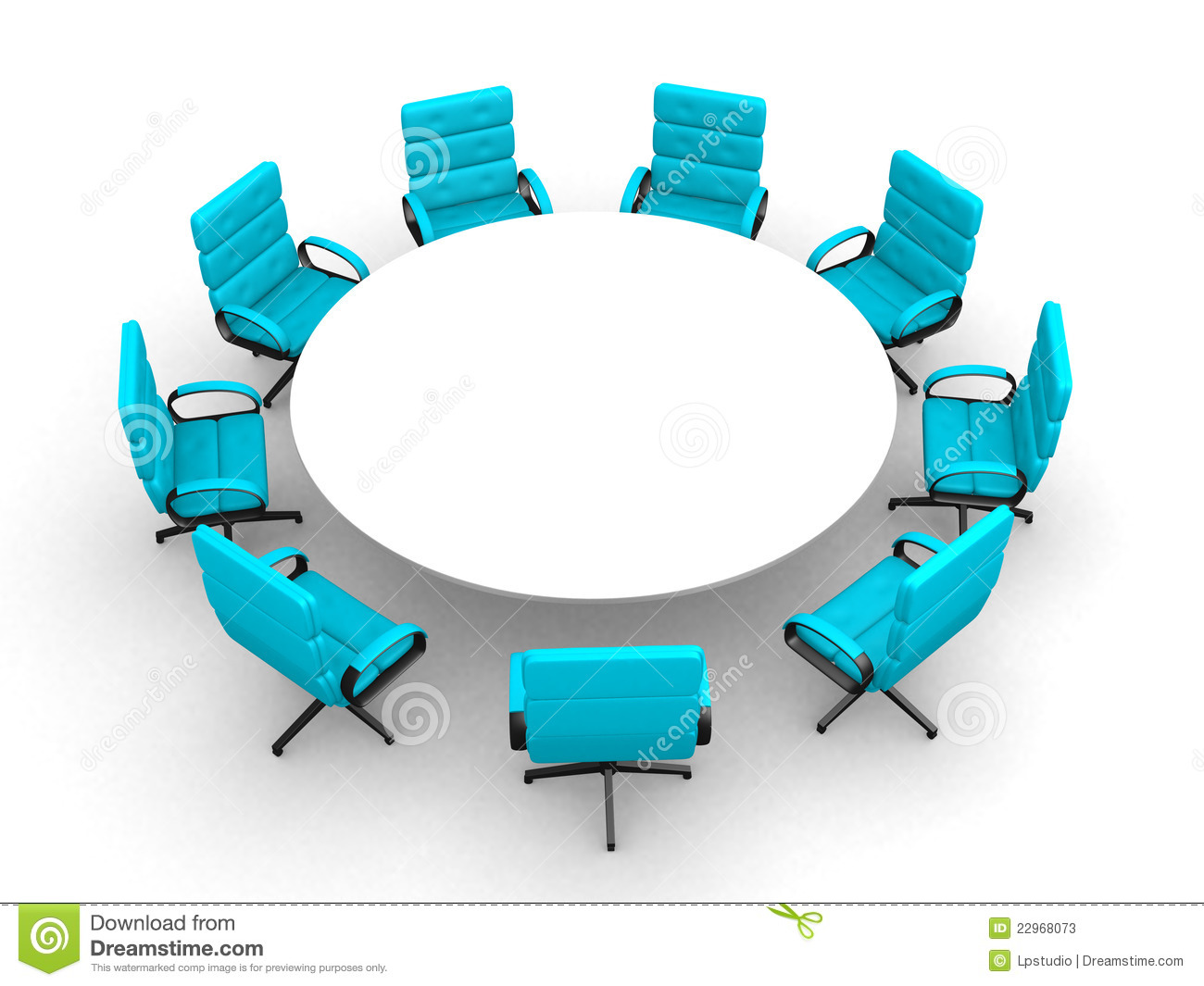 Room Clip Art: 3d Round Conference Room, Isolated On White Stock