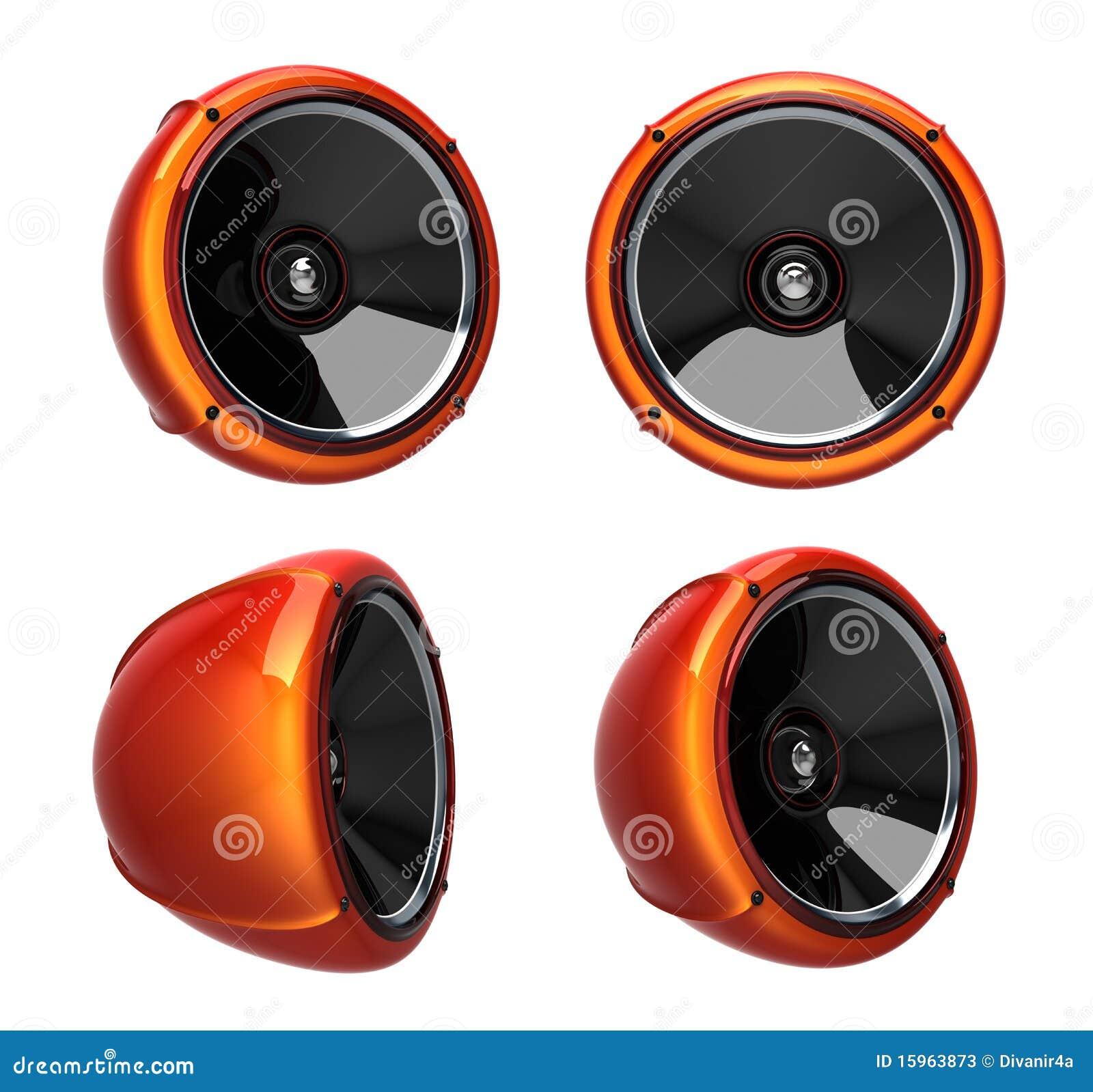 3D Round Speakers Stock Photos