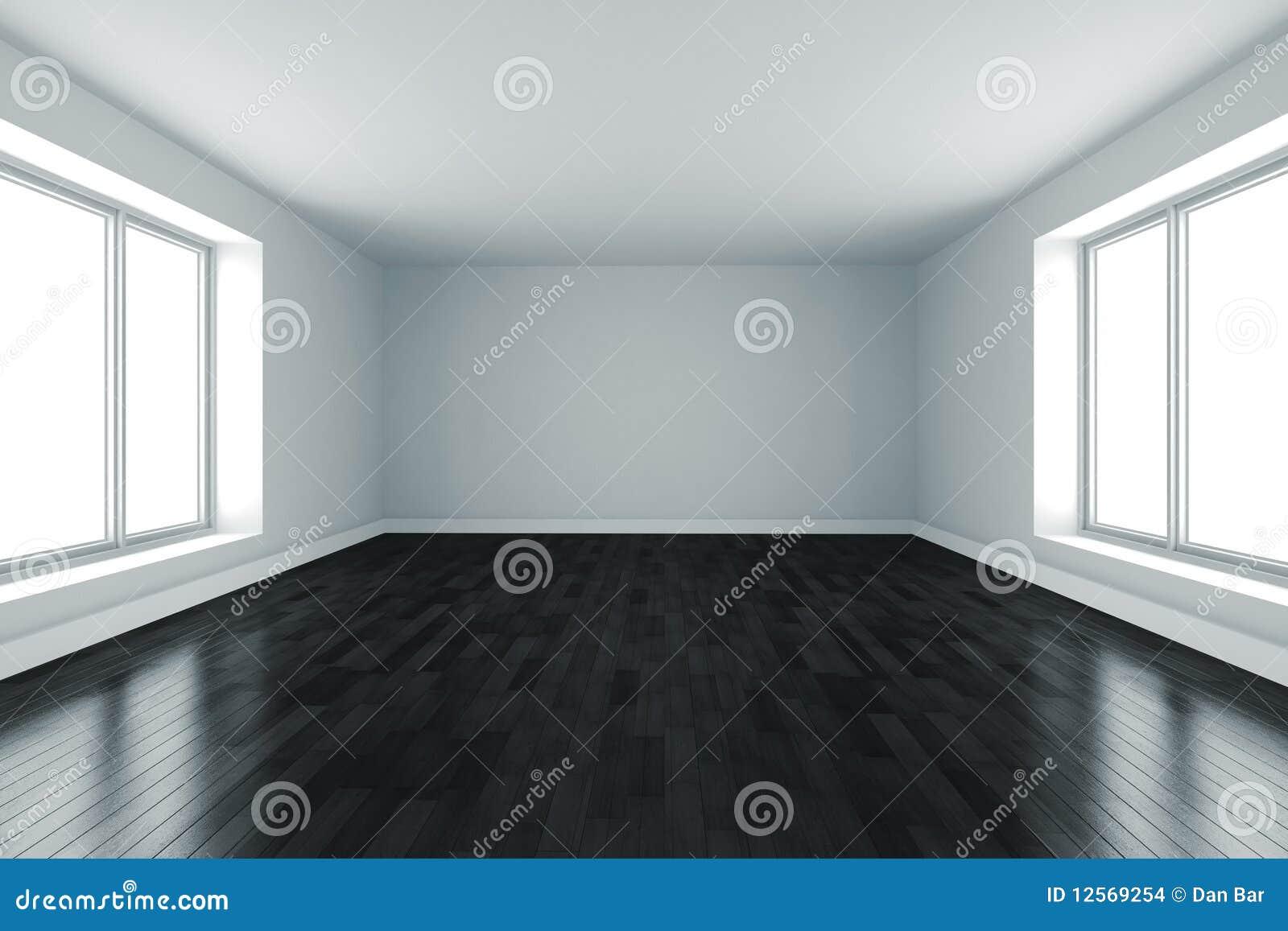 3d ruimte met witte muren en zwarte vloer stock for Witte vloer