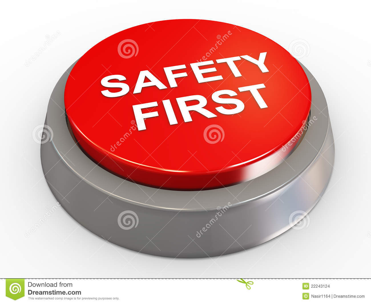 3d Safety First Button Stock Images - Image: 22243124