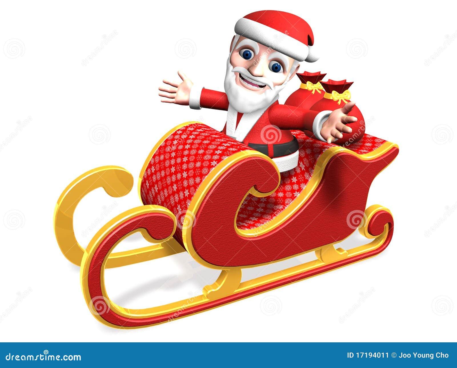 3d Santa S Funny Sled Driving Stock Illustration
