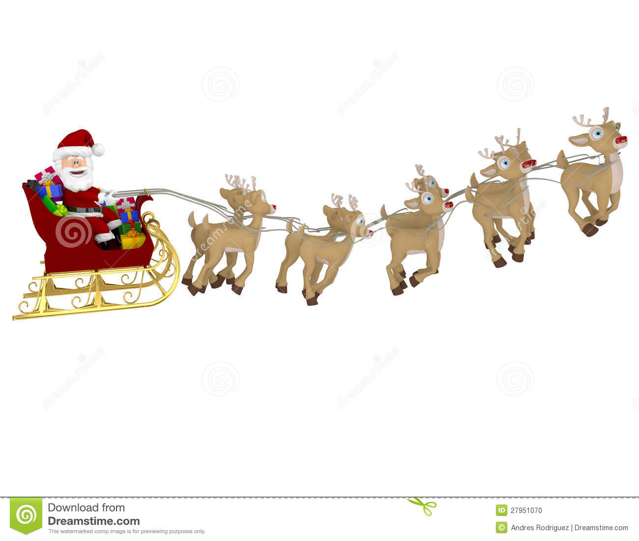 3D Happy Santa on a sleigh - isolated over a white background.