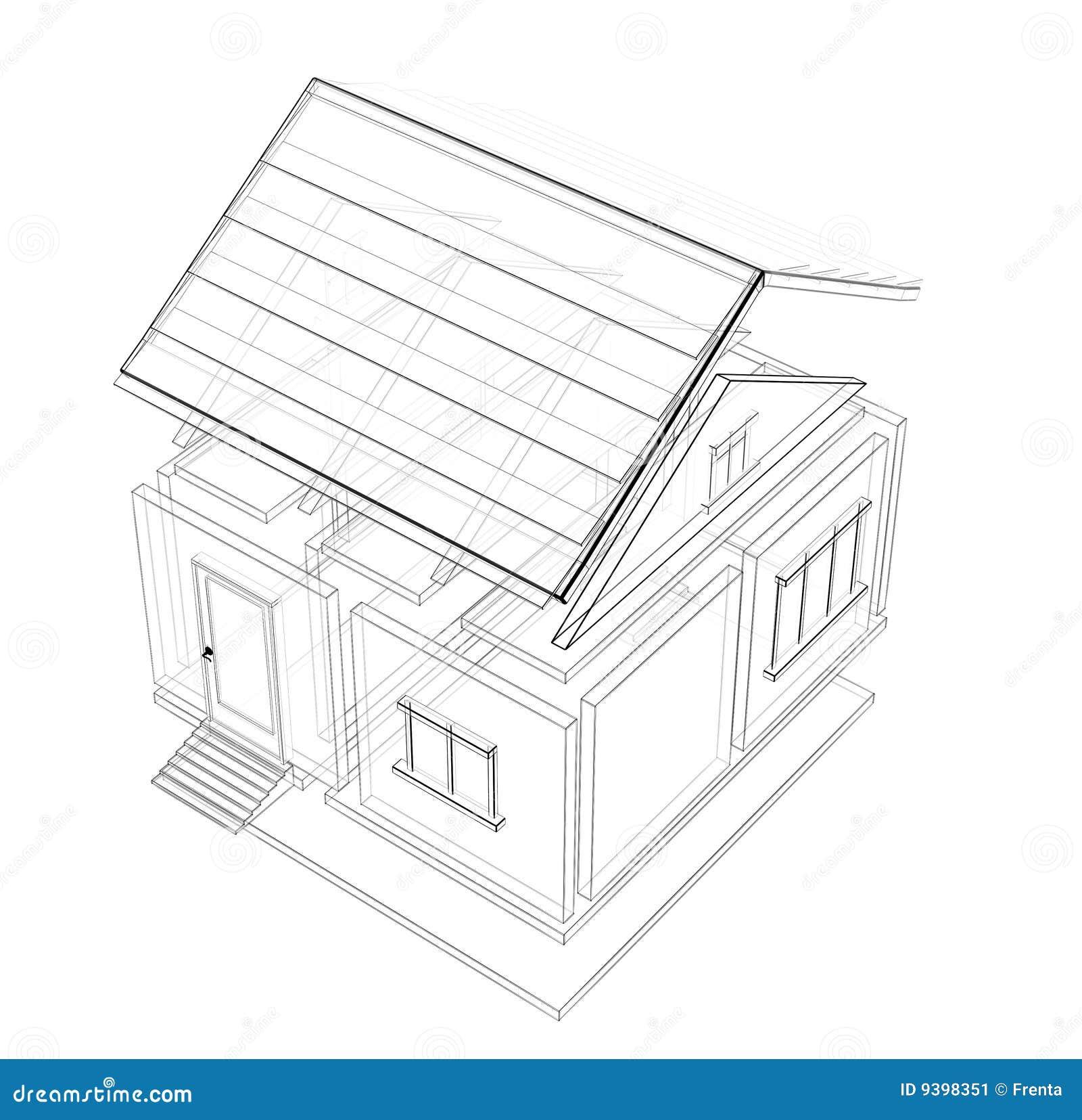 3d schets van een huis