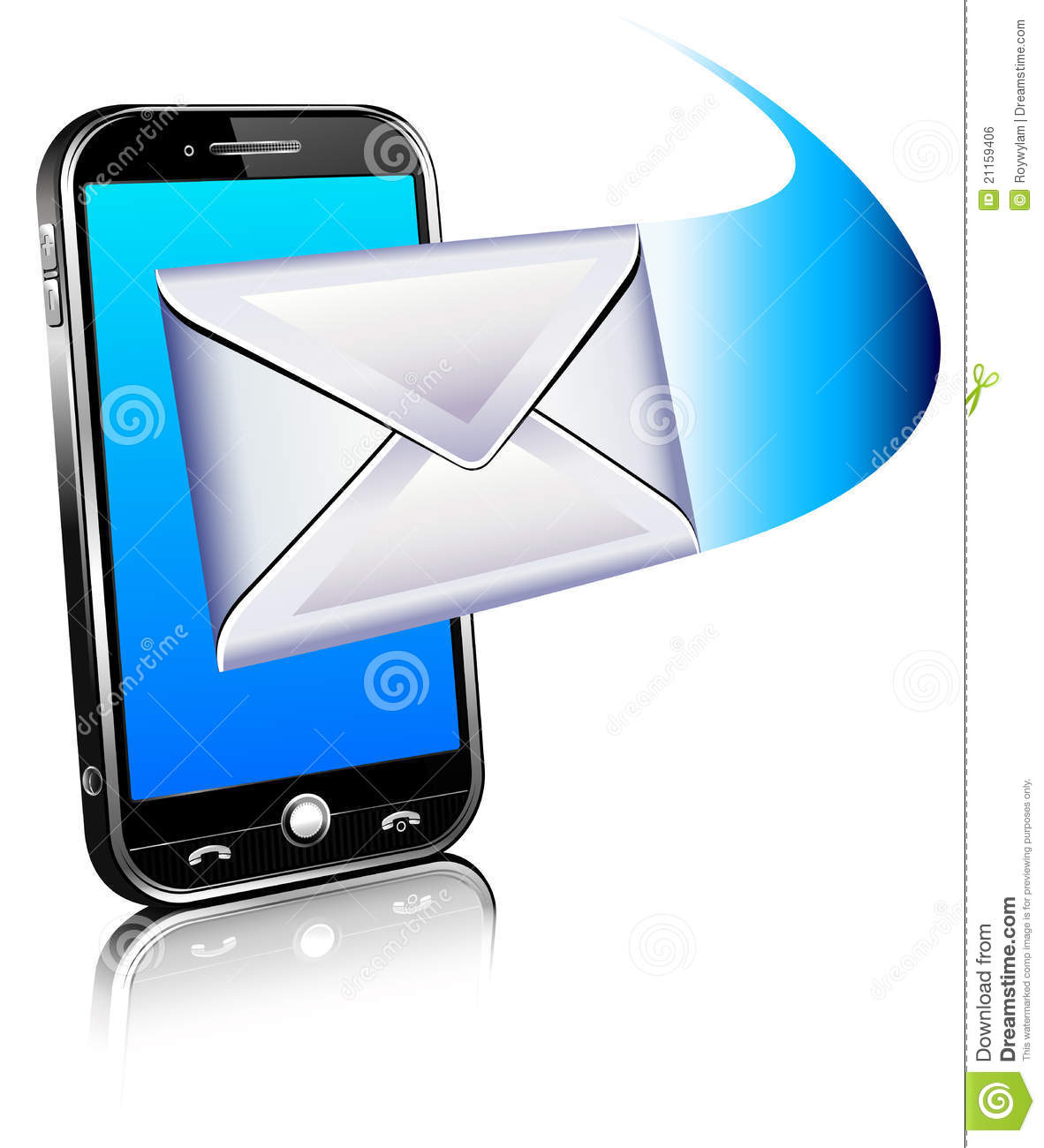 3D Send receive email icon - mobile phone