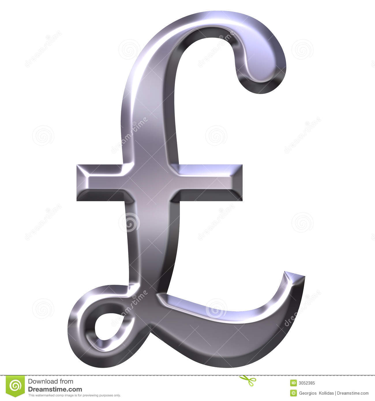 3d Silver British Pound Symbol Stock Illustration Illustration Of
