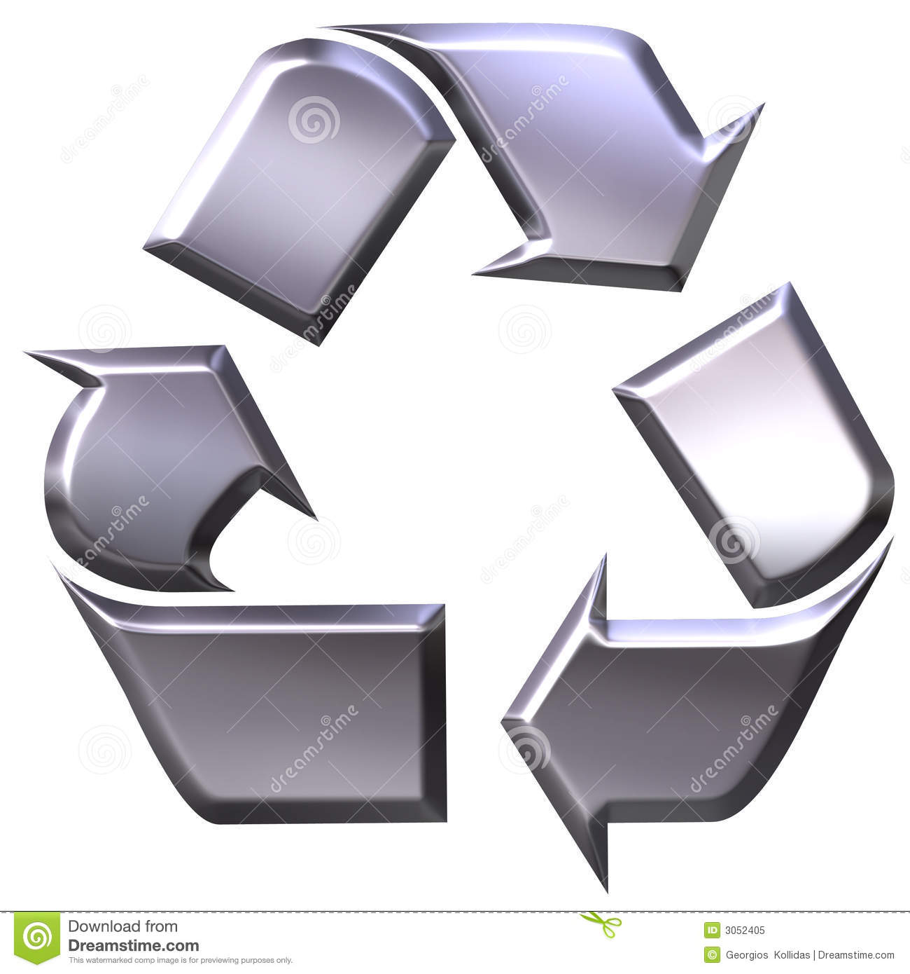 3d Silver Recycling Symbol Stock Illustration Illustration Of