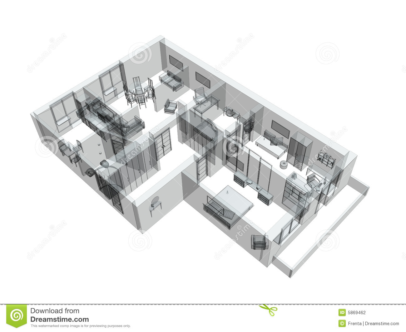 3d sketch of a four room apartment stock photography for 3d sketch online