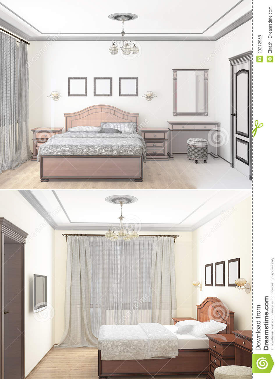 Bedroom Drawing: 3D Sketch Of An Interior Bedroom Stock Illustration
