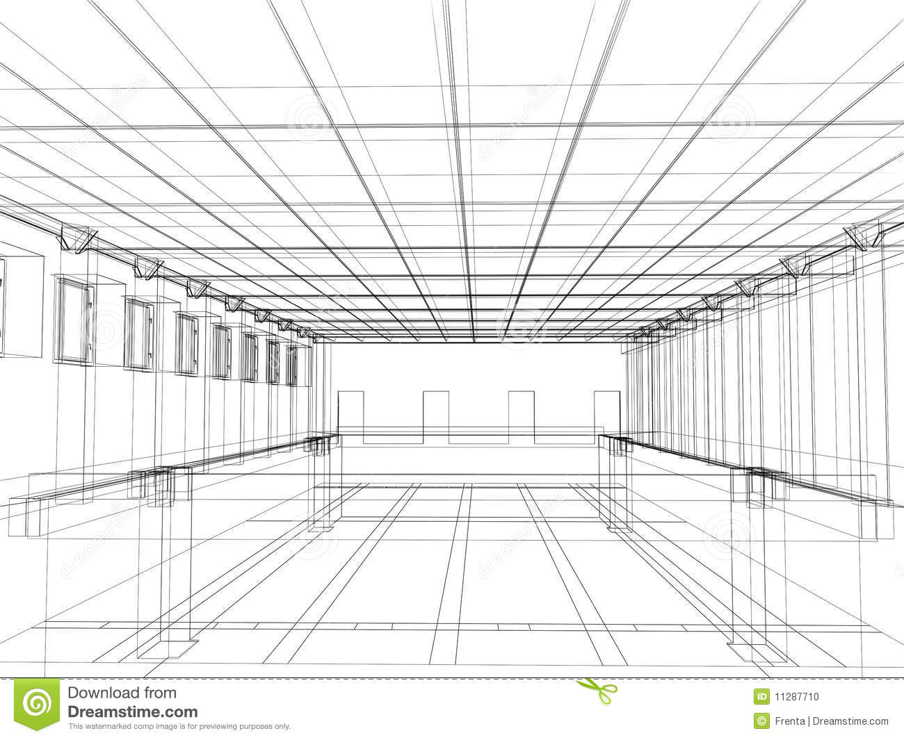 3d sketch of an interior of a public building stock photo image 11287710 for Construction drawings and details for interiors