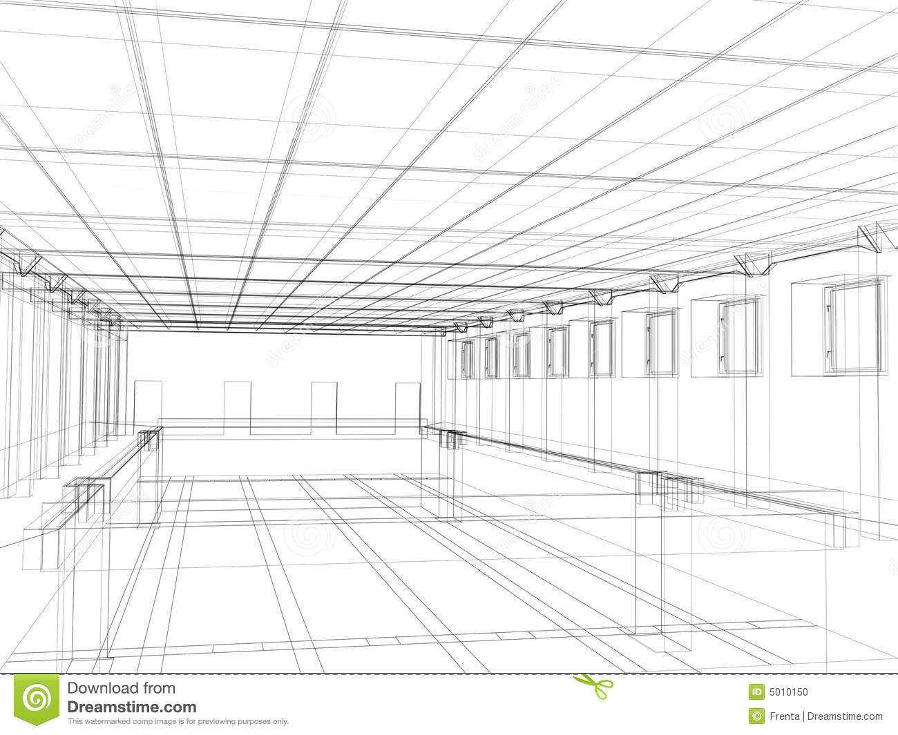 3d Sketch Of An Interior Public Building Stock Photo - Image: 5010150