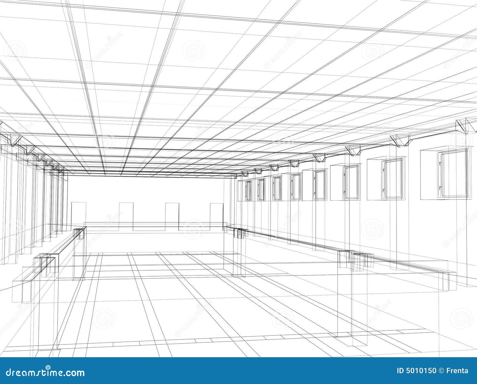 D Sketch Of An Interior Public Building Stock P O
