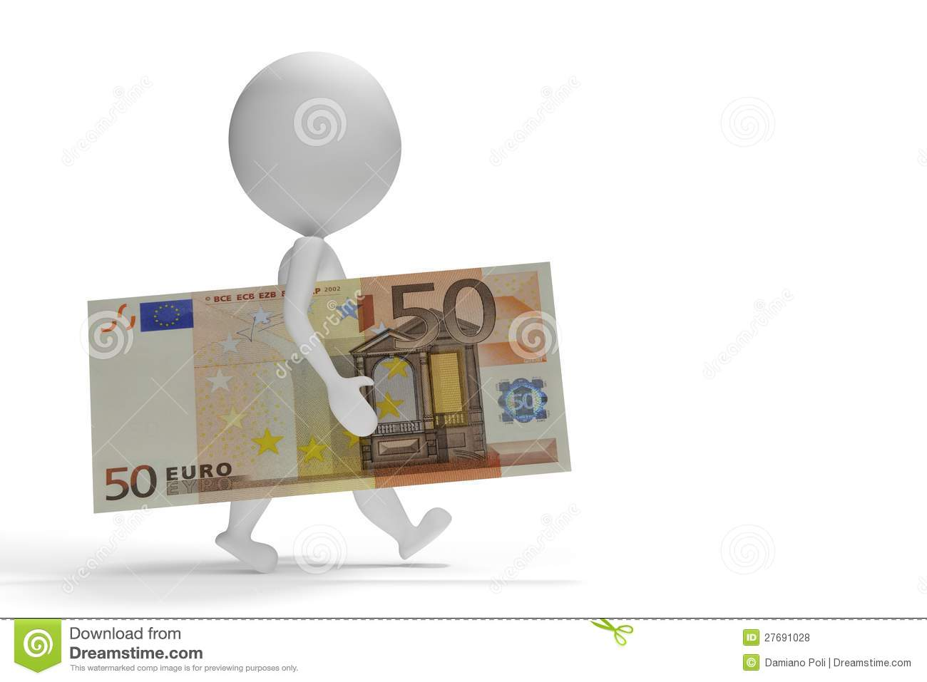 3d Small Man Walking With 50 Euro Stock Illustration Illustration