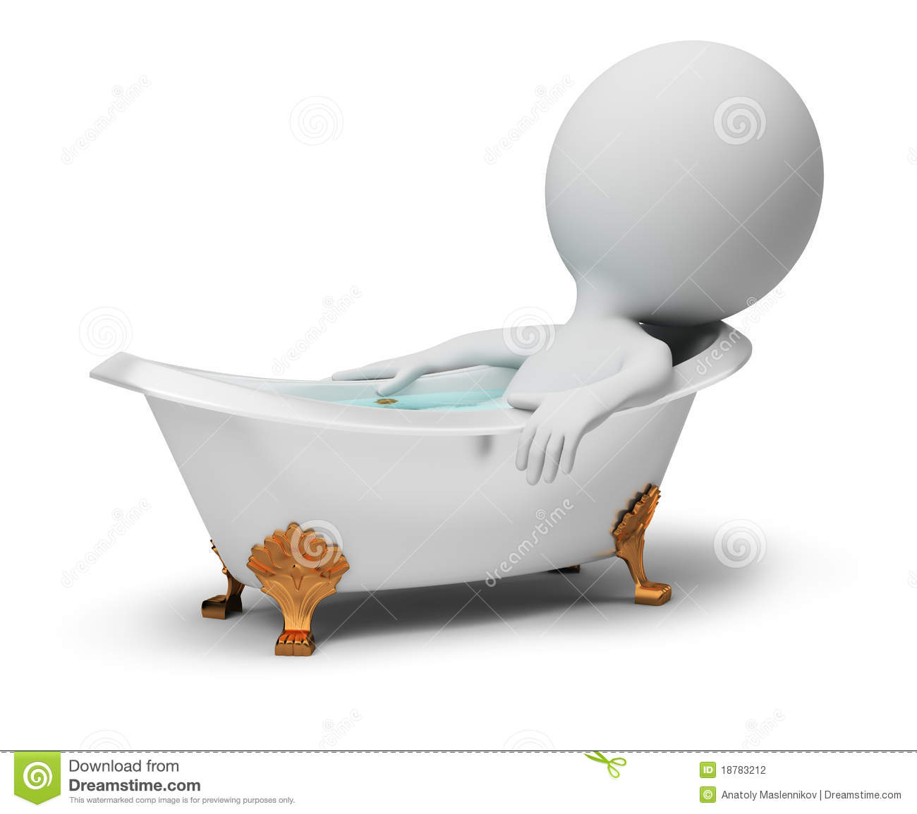 3d Small People In A Bath Stock Photography Image 18783212