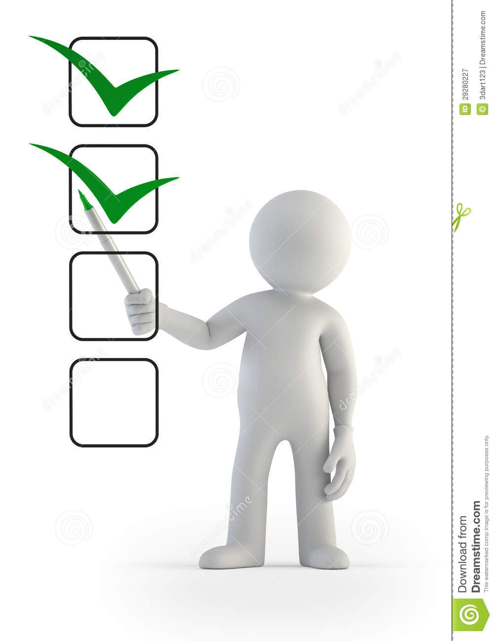 3d Small People Checklist Royalty Free Stock Photography