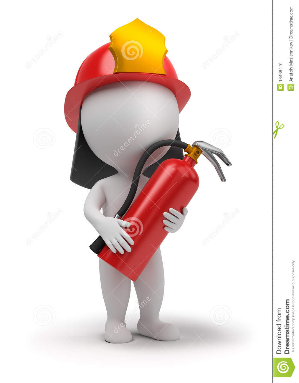 ... extinguisher and in a helmet. 3d image. Isolated white background