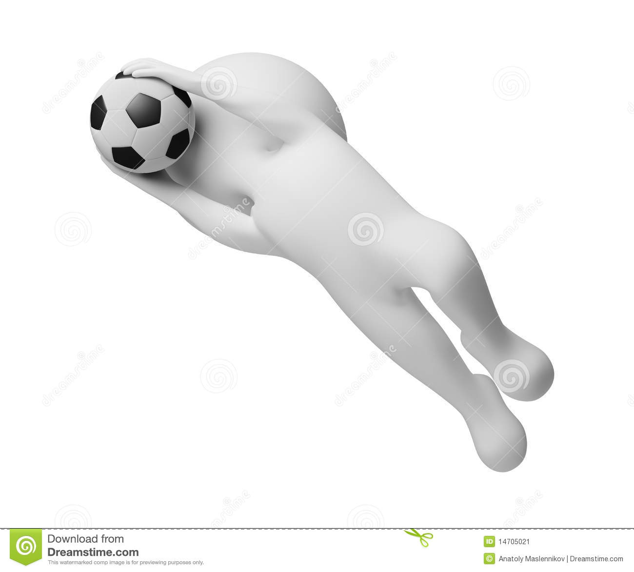 3d small people goalkeeper a catching ball stock image