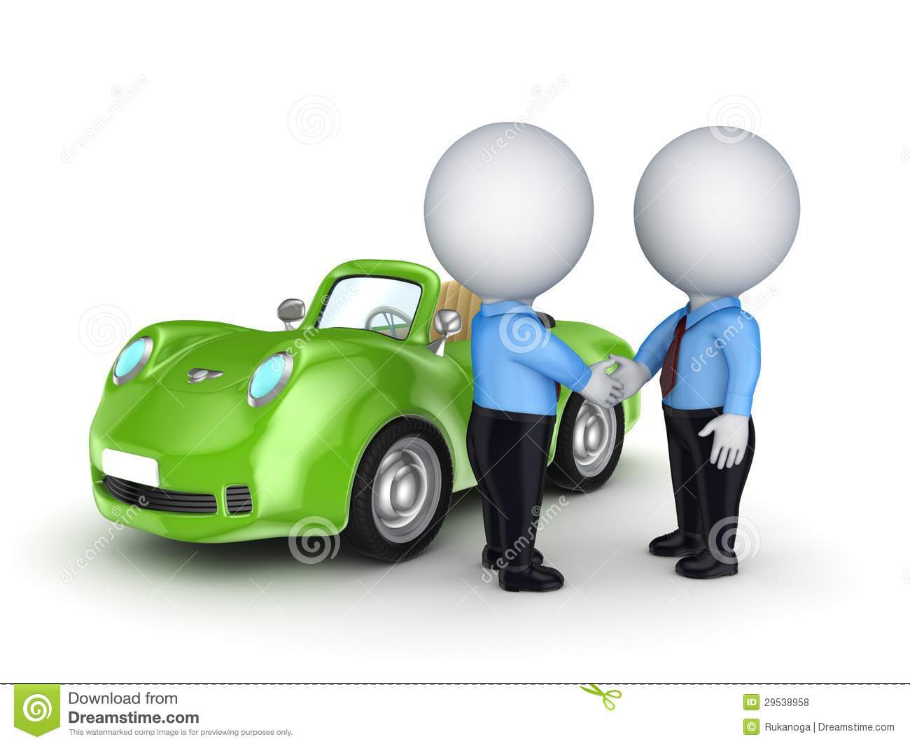 3d Small People And Green Car. Stock Illustration ...