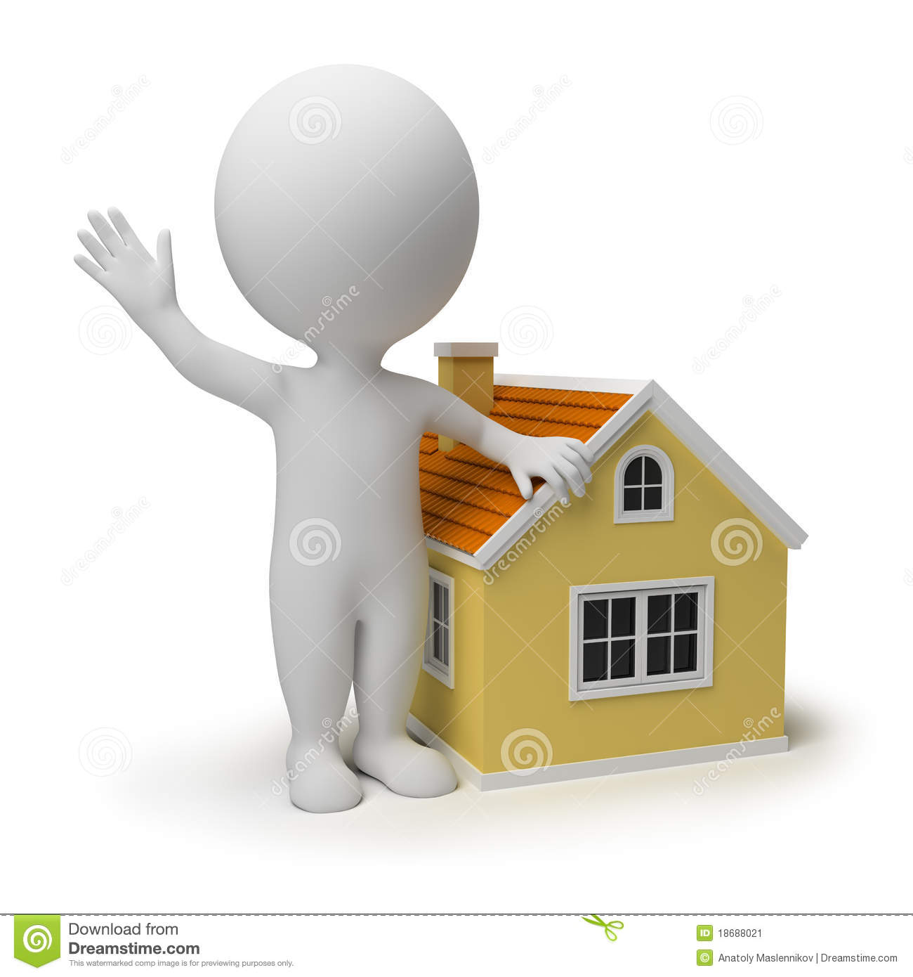 3d Small People Home Stock Image Image 18688021