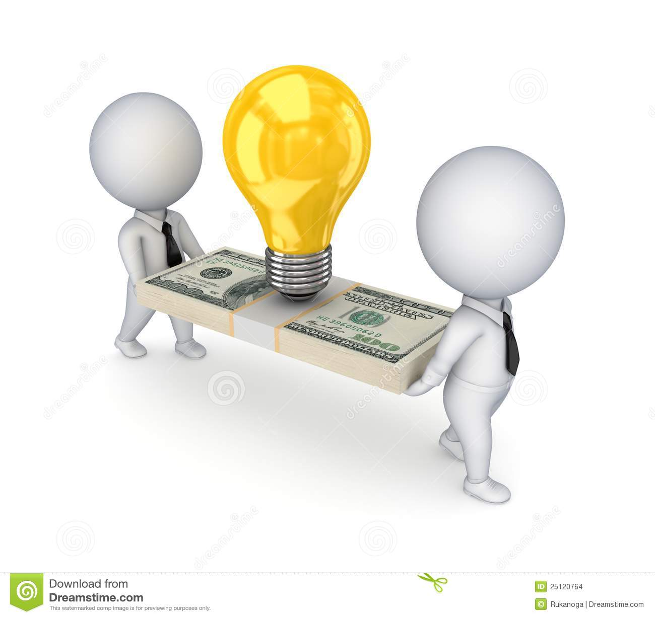 3d Small People Idea Symbol And Dollar Pack Stock Images