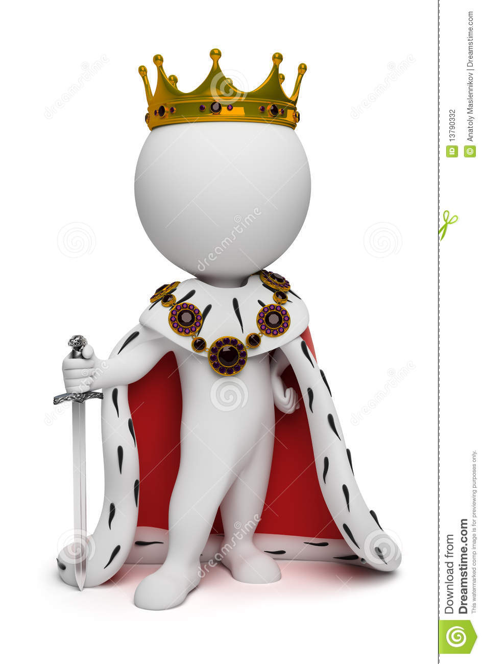 3d small people king stock photography image 13790332