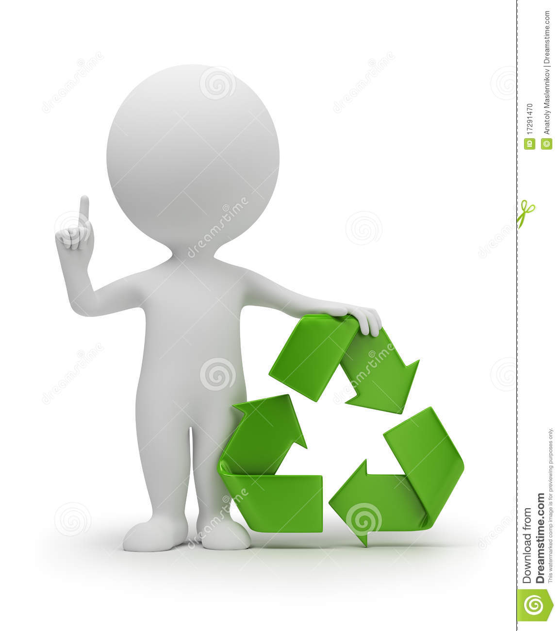 3d small people with a recycling symbol stock photo image 17291470