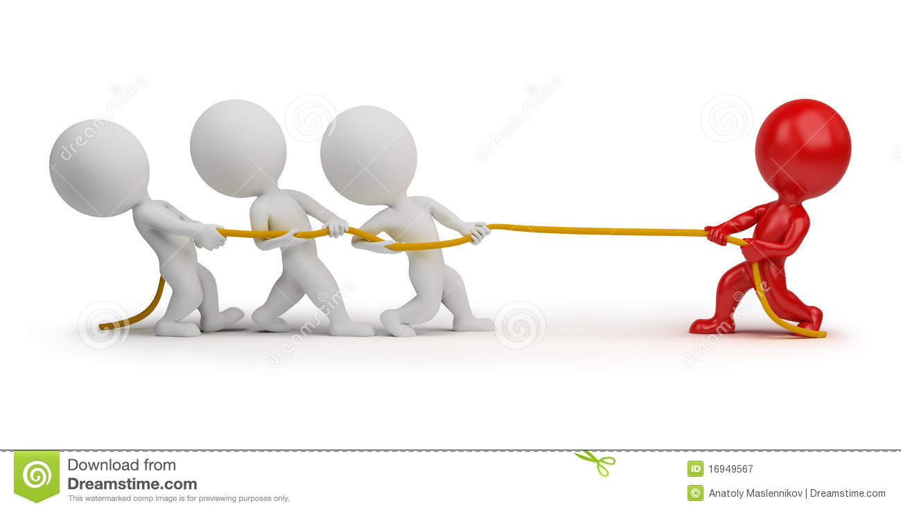 3d Small People - Rope Pulling Royalty Free Stock Photography - Image ...