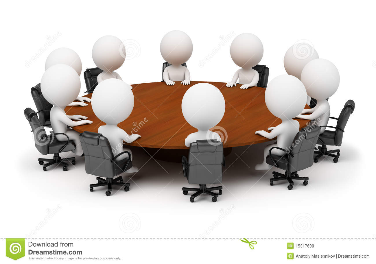 3d Small People Session Behind A Round Table Royalty