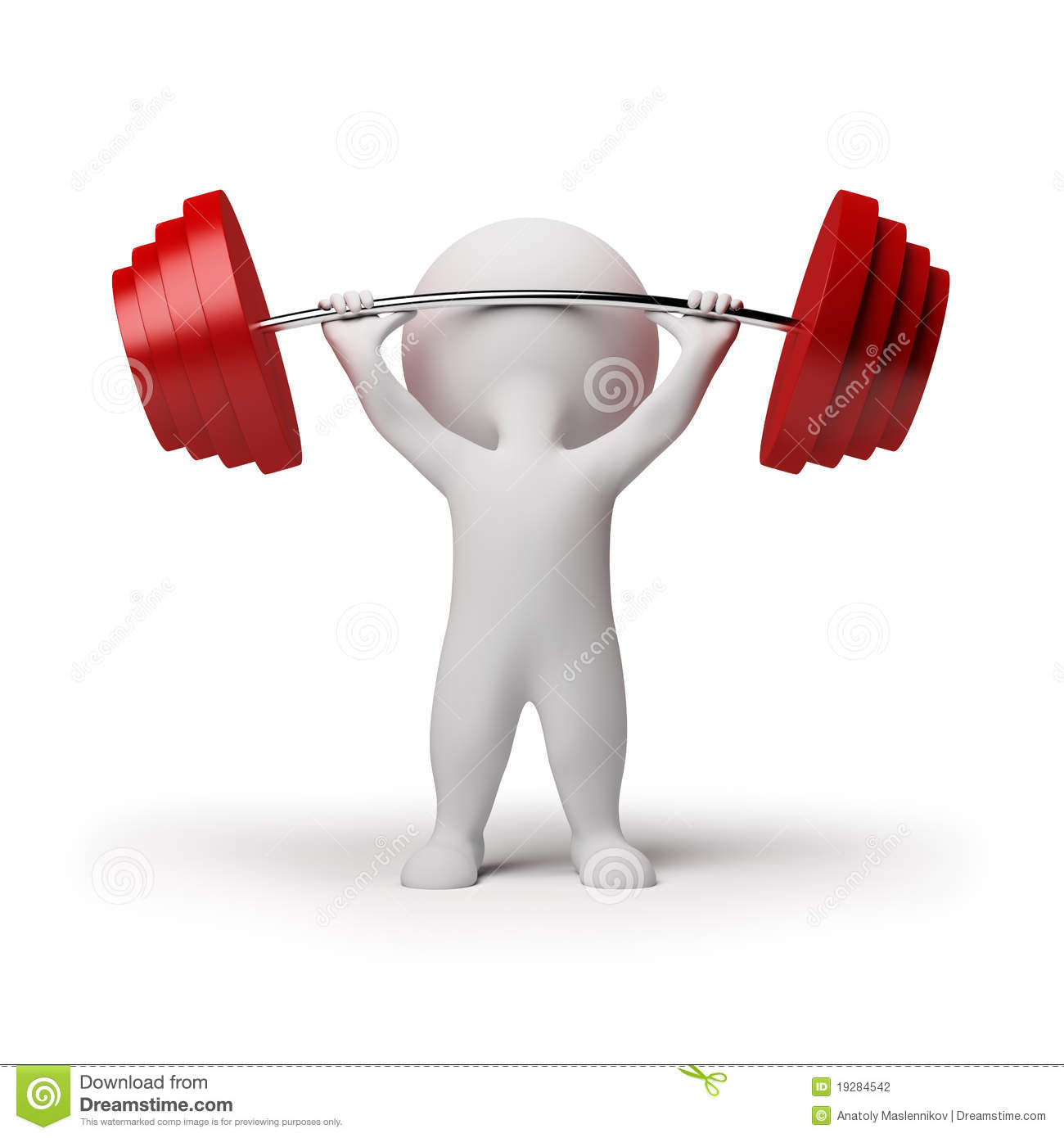 3d Small People Weightlifting Stock Photography Image