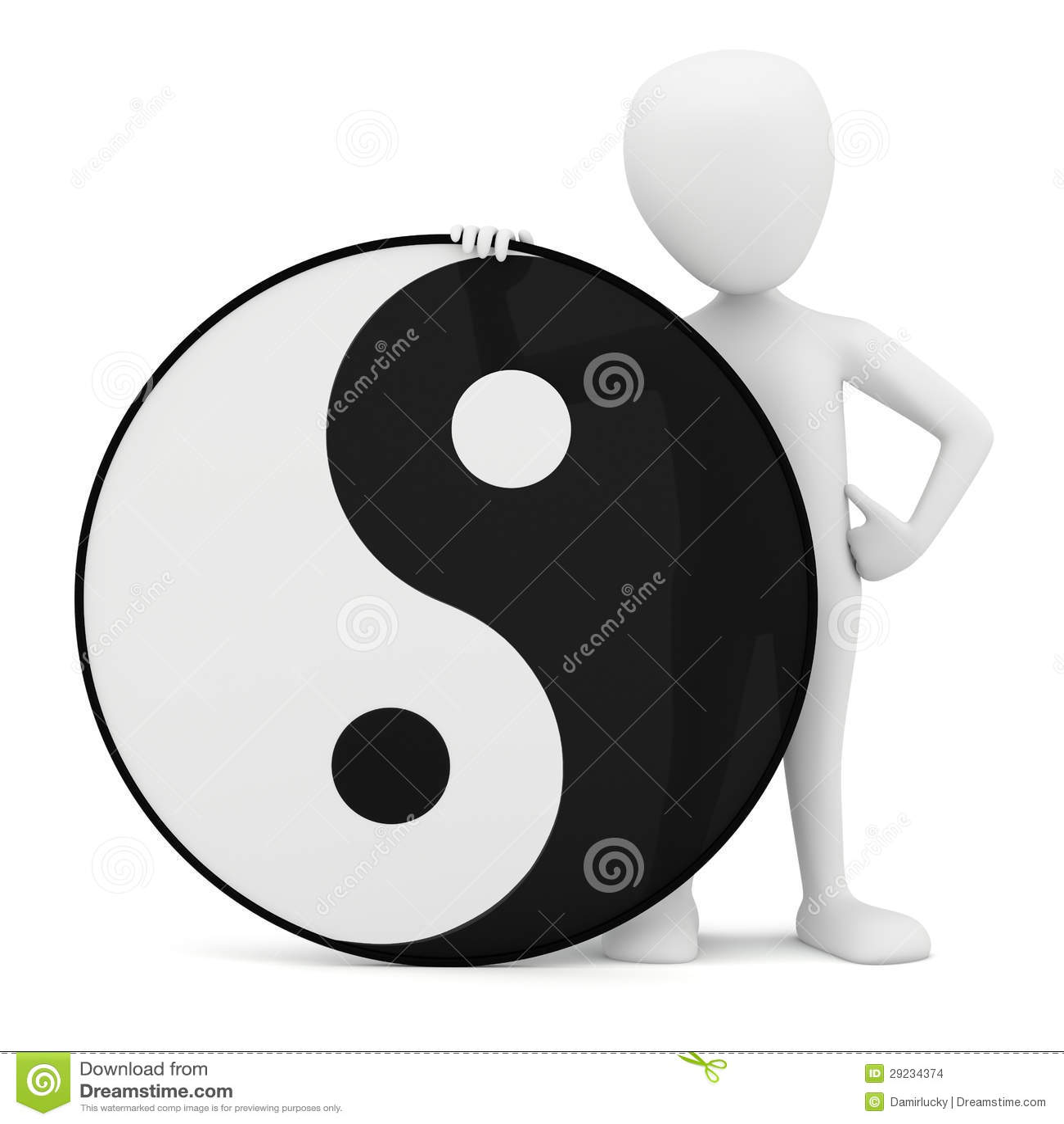 3d Small Person Yin Yang Stock Illustration Illustration Of