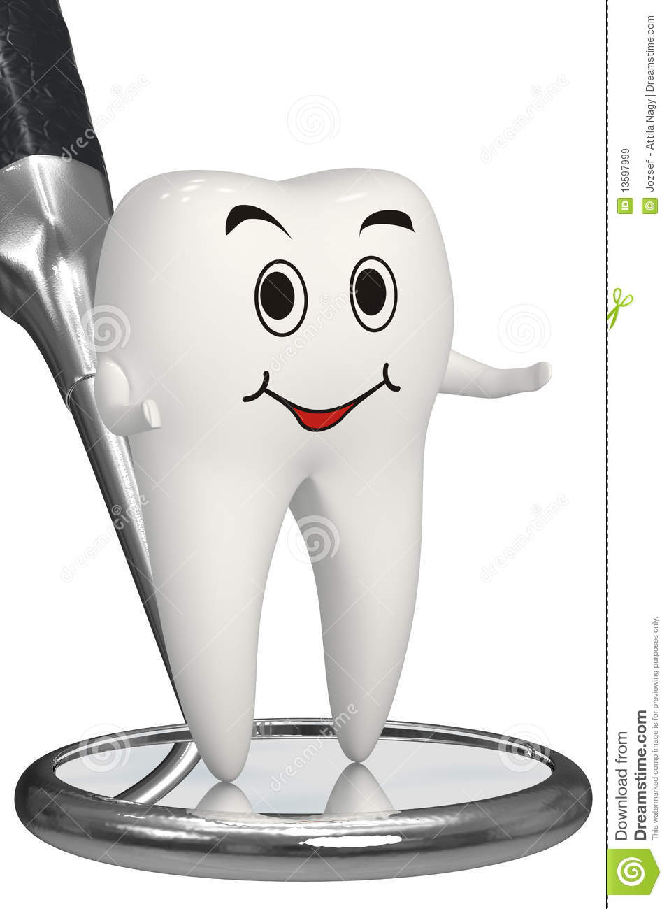 3d Smiling Tooth On Dental Mirror Isolated Icon Royalty Free Stock ...