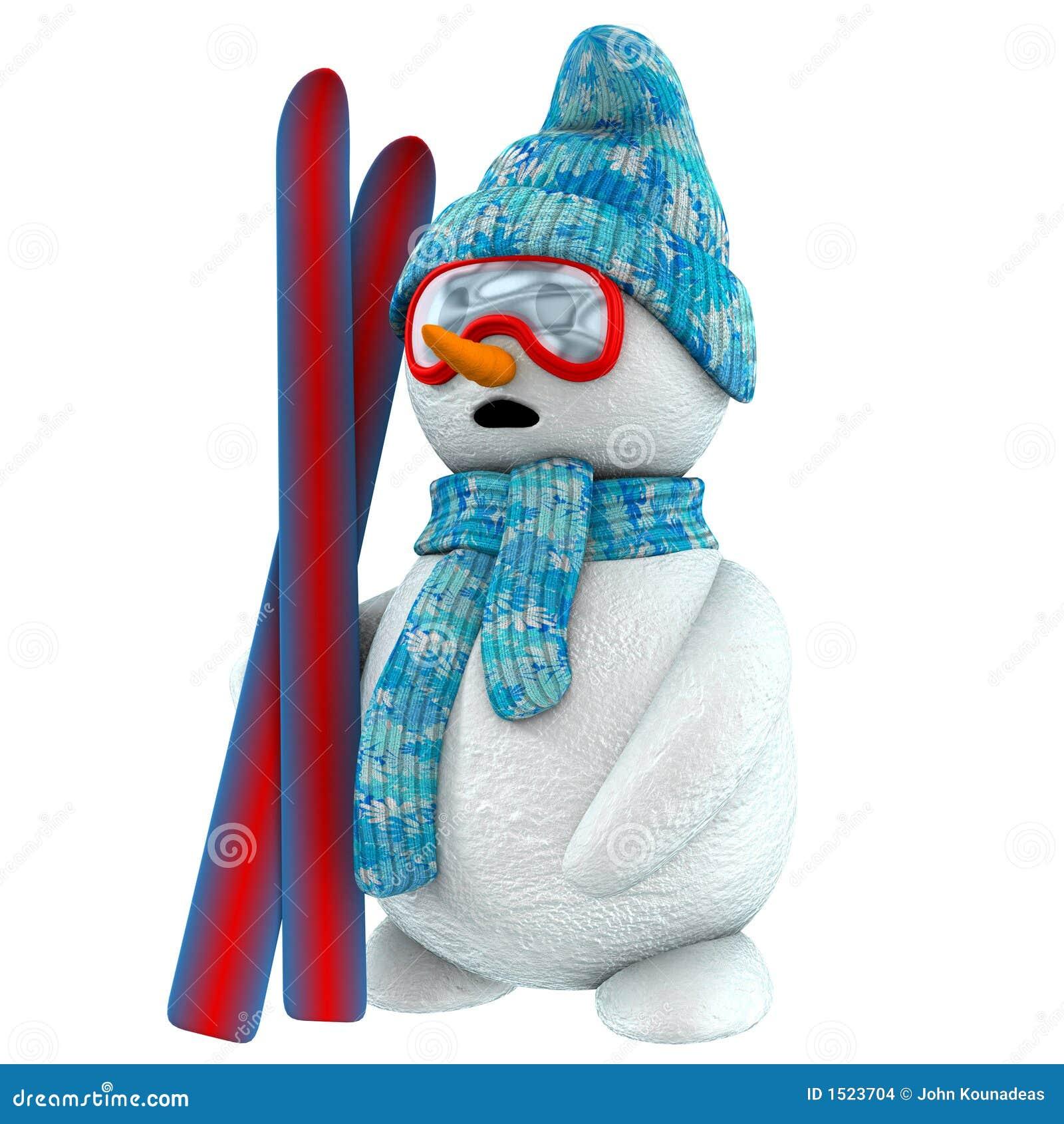 3d snowman skier