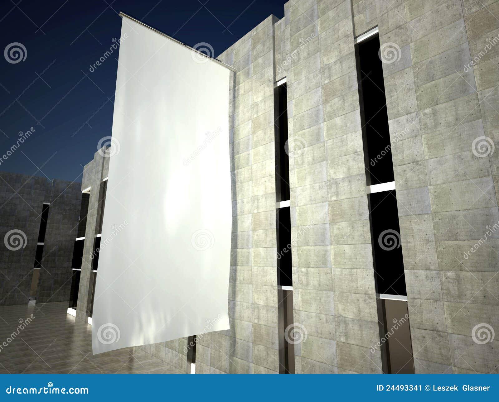 3d som annonserar den tomma flaggaväggen för blank byggnad