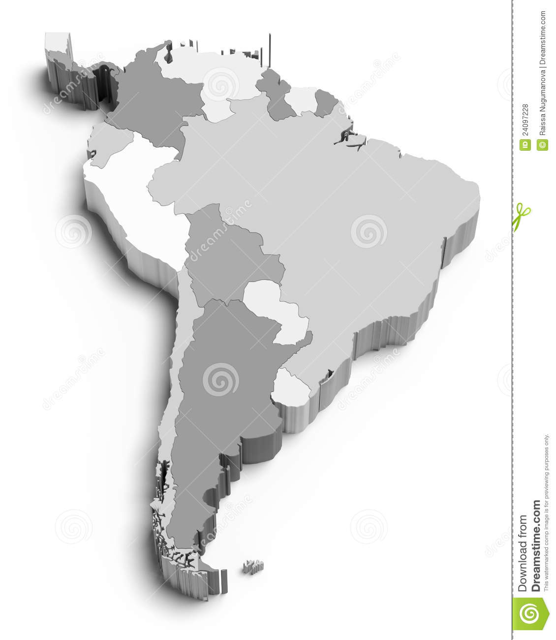 3d Map Of South America.3d South America Map On White Stock Illustration