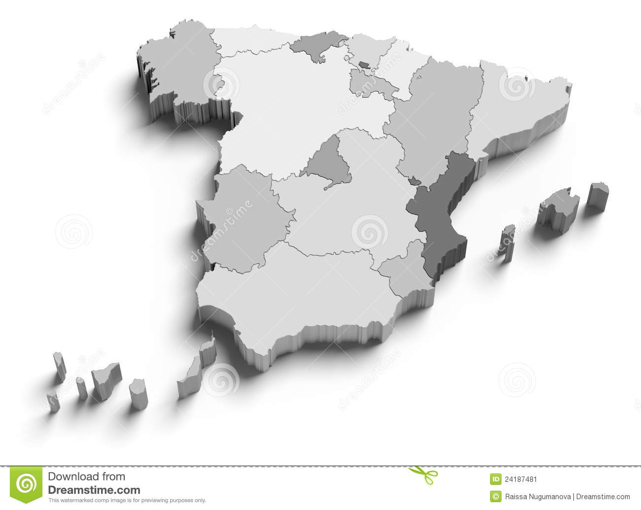 3d Map Of Spain.3d Spain Grey Map On White Stock Illustration Illustration Of