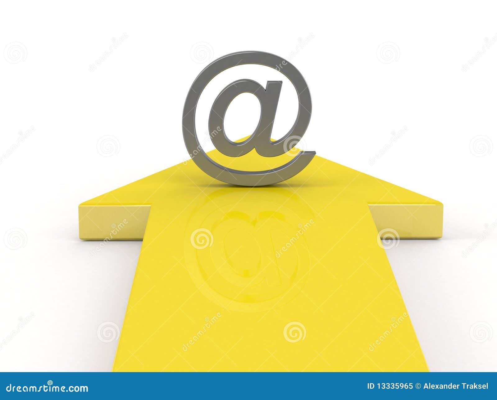 3d strzałkowaty emaila symbolu kolor żółty